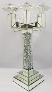 5 Arm Candelabra Silver Mirrored Sparkly Diamond Crush Crystal Large