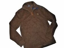 Polo RALPH LAUREN men's Sweater 1/4 ZIP brown PULL OVER SMALL S