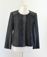 Vince Camuto Womens Black Faux Leather Textured Zip Front Blazer Jacket Moto L