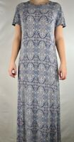 LuLaRoe Womens Maria Dress Blue Pink Medallion Maxi Short Sleeve Made In USA S