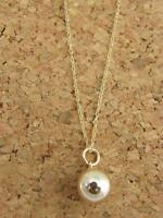 Real 10Kt Yellow Gold BALL PENDANT Necklace  & Solid 10k gold Cable 18inch Chain