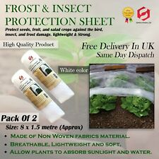 2 x 8m (16m) Frost & Insect Protective Fleece Sheet Garden Plant 8x1.5m each New
