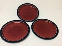 """Denby Langley Harlequin 8"""" Salad Plates Red With Blue Trim Set Of 3 Salad Plates"""