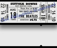 Beatles 1966 Vintage Ticket Concert Suffolk Downs Two LOAs NM Original White
