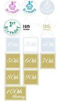 Numbered Birthday Stickers Designer Labels Birthday Invitation Seals gold  x50