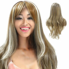 Womens Blonde Wig Ombre Long Brown Gold Straight Black Synthetic Hair Wigs