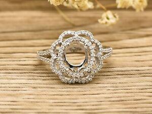 14K White Gold Flower Halo 0.45ct Diamonds 9x7mm Oval Engagem Ring, Semi Mount