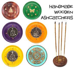 Indian Round Wooden Ash Catcher Incense Joss Stick Holder Insence Ashcatcher
