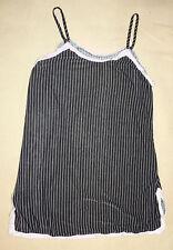 Top débardeur haut à bretelles en polyester noir rayé blanc taille M 38-40