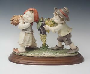GIUSEPPE ARMANI BOY GIRL CARRYING GRAPES ON BROOM GULLIVER'S TRAVELS SCULPTURE
