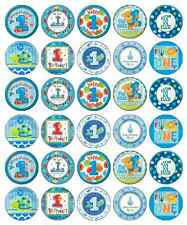 30 x 1st First Birthday Boy Blue Cupcake Toppers Edible Paper Fairy Cake Topper