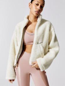 Nike Sportswear Swoosh Women's Sherpa Fleece Jacket Size SMALL Ivory CU6639-238