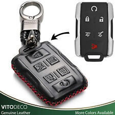 Vitodeco 6-Button Leather Key Fob Cover for GMC Yukon, Chevrolet Tahoe, Suburban