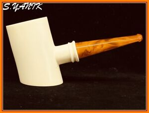 S.YANIK MEERSCHAUM Pipe SMOOTH POKER AMBER STEM Fitted case