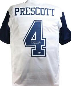 Dak Prescott Autographed White w/bs Alternate Pro Style Jersey- Beckett W*Silver