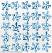 25 Light Blue Fabric Puffy Snowflakes - 33mm Approx