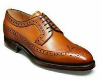 Mens Handmade Shoes Brogue Tan Leather Oxford Wingtip Lace Up Formal Dress Shoes