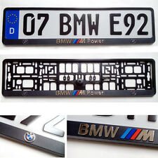 Black 3D BMW POWER LOGO European Euro License Number Plate Holder Frame German
