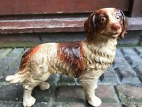 1 Vintage Adorable Cast Iron Dog Animal Hand Painted Door Stay Stop