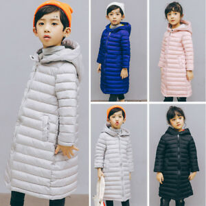 Winter Girl Kids Padded Zip Up Quilted Coat Puffer Jackets Fur Hooded Long Parka