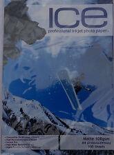 ICE MATTE INKJET PRINTER PHOTO PAPER 110GSM A4 100 SHEETS 5760DPI
