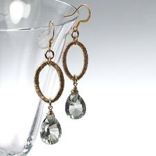 Exotic Green Amethyst & Oval Link in 14k Yellow Gold Filled Drop Dangle Earrings