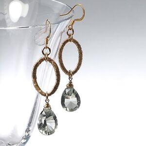Exotic Green Amethyst & Oval Link in 14k Yellow Gold Filled Drop Dangle Earrings