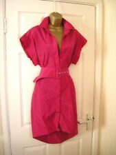 14 PREEN BRIGHT PINK PENCIL MINI SHIRT DRESS + SLIP BELTED RETRO 70'S 80'S PARTY