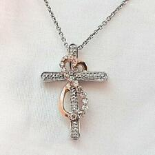 Genuine .22ct H-SI Diamond Solid 10K Rose Gold 925 Sterling Silver Necklace 4.1g