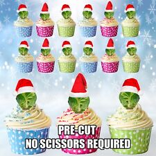 PRECUT Brussel brotes sombreros de Santa 12 Comestible Cupcake Toppers Decoraciones De Pastel