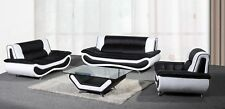 NAPOLI LEATHER 3+2 SEATER SOFA COFFEE TABLE ARMCHAIR BLACK WHITE BROWN RED GREY