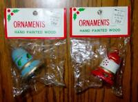 (2) VINTAGE Kmart Ornaments - Wood Hand Painted CHRISTMAS BELLS - Blue & Red New