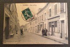 CPA. TAVERNY. 95 - Rue de Paris. 1909. Café Restaurant. Vitrerie.