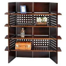 4 Panel Book Shelves Room Divider Walnut - Ore International