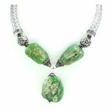 Necklace natural Chrysoprase antique natural defect gemstone beaded 140 grams