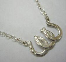 "Hallmarked Sterling Silver 18"" Horseshoe Belcher Chain Necklace 18 inch UK"