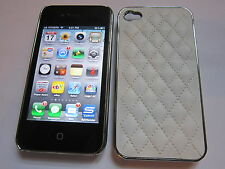 White Leather Stitched Back Designer Luxury iPhone 4 4G 4S Full Back Case