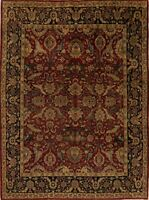 Floral BURGUNDY & BLACK Agra Oriental Area Rug Wool Hand-Knotted Carpet 8x10