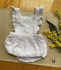Peter Rabbit baby girl pink/white stripe Summer romper, size 0, GUC