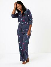 Ex M&S Fleece Star Print Pyjama Set Chemise Nightwear Navy Blue Size 8 - 26