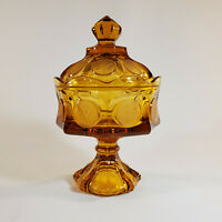 Vintage Fostoria Amber Glass Pedestal Covered Candy Dish Eagle and Torch