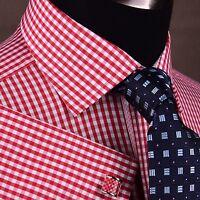 Red Plaids & Checks Formal Business Dress Shirt Small Pindot Pink 2x French Cuff