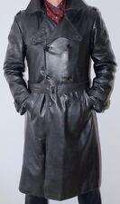 Men's Elegant Leather Trench Black Jacket Coat SLIM FIT 52 / UK 42 / L