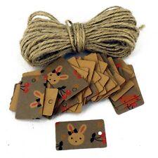 ETICHETTE DI PREZZI Card con 10m di rustico Stringa CONIGLIETTI Design Artigianato Naturale x 50
