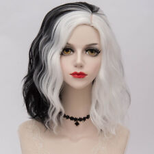 schwarzweiß kurz Lolita Halloween Cosplay Perücke Gothic Lockig Damen 35cm + Cap