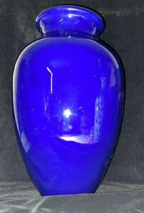 """Large Vintage Cobalt Blue Ceramic Vase 16"""" 41 cm Tall"""