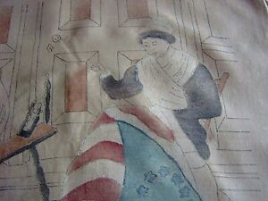 = 'BETSY ROSS MAKING THE FIRST NATIONAL FLAG' [U.S.A.] - printed textile   [A59]