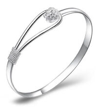 Silver Plated Bangle Bracelets Rose Flower Buckle Gift Charm Women Cuff r