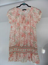 Dorothy Perkins Sheer Top Chiffon Style Elasticated Tie Neck Floral Size 12