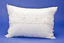 Antique Vintage Shabby Chic White Rib Cotton Embroidered Cushion, 11x14.5 inches